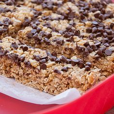 No Bake Peanut Butter and Chocolate Granola Bars:  I made these a few days ago and they are amazing!  The kids loved them, too.  I'm going to make a batch for lunchboxes.