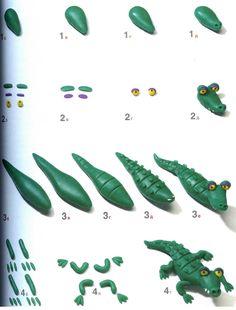 krokodil kleien met kleuters, stap voor stap