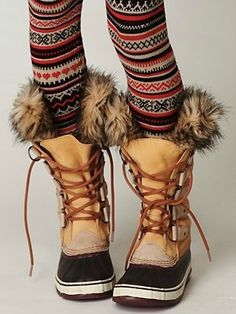 Scandinavian tights with winter boots- I need boots like these for Reno. I dig the tights too!