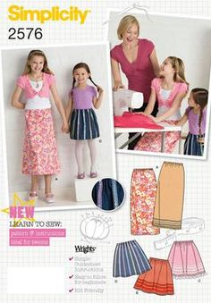Childs/girls skirts sew Easy Sewing Pattern 2576 Simplicity