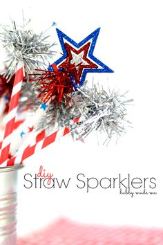 DIY 4th of July Straw Sparklers