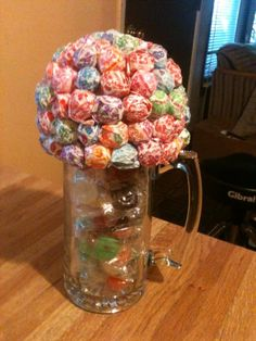 Candy Bouquet Made with Lifesavers and Dum Dum Pops in Glass Mug (26.5 oz) Ready to Ship  on Etsy, $36.00