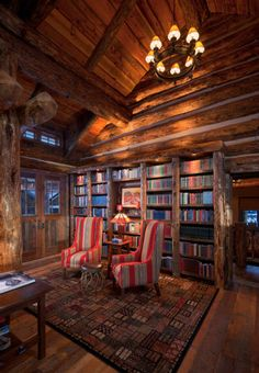 Library in Montana log home.... pretty