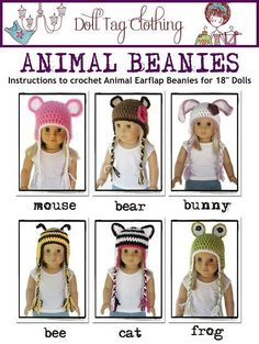 Doll Tag Clothing Animal Beanie Hat Crochet  Doll Clothes Pattern for 18 inch American Girl Dolls - PDF. $3.99, via Etsy.
