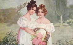 Vintage Postcard Congratulations Two Beautiful Girls with Rose Basket (Image1)