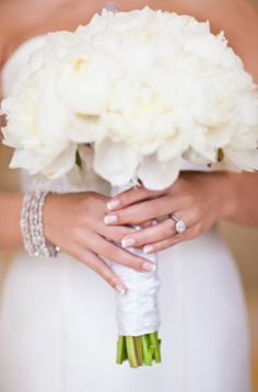 White Wedding Bouquet - One and Only Paris Photography