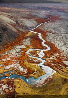 River flowing through lava fields in Iceland