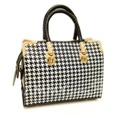 Stylish Women's Tote Bag With Houndstooth and Metallic Design (BLACK) | Sammydress.com