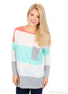Mint Hand In My Pocket Striped Tunic