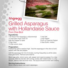 Take our advice and pair your favorite dish with this delicious Grilled Asparagus with Hollandaise Sauce recipe #FoodieFriday