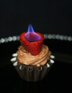 Flaming strawberry chocolate cupcake. Adults only!
