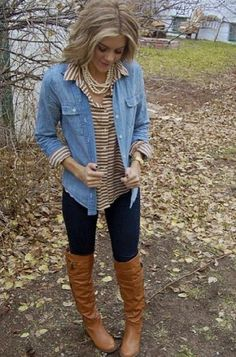 pearl, hair colors, tall boots, denim shirts, fall looks, fall outfits, winter outfits, brown boots, stripe