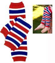 (#20) Patriotic red white & blue stripe baby leg warmers for boy or girl by My Little Legs