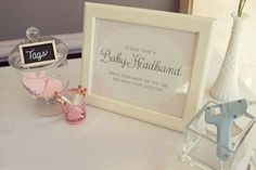 DIY Baby Headband station at a baby shower -- fun idea for a babygirl shower in lieu of a game.