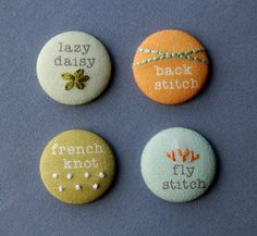 Magnets or pins Modern Hand Embroidery Sampler by SeptemberHouse