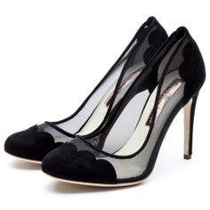 Rupert Sanderson Hamelin High Heel Pumps in Black and Mesh Suede