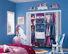 Walk in Closet Ideas; What Kids and Girls Need : Blue Wall Wooden Chair Glass Window Closet