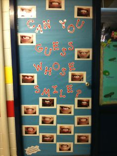 Dental Health Month classroom door with CTP's Red Dot-to-Dot letters
