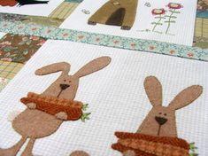 rabbits! favorit idea, decor, gift, fav craft, rabbit appliqu, felt rabbit, bunni, diy idea, fun