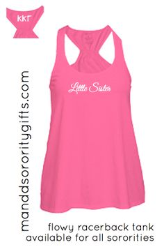 $22.98 Little Sister Kappa Kappa Gamma Sorority Tank Top. Our trapeze style, very loose tank is adorable on all body types. Made of 100% cotton, minimal shrinkage only 5%. Add the coordinating tank top for your sorority sister and save. Super cute for big little gifts or to wear on reveal day!