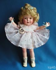 """IDEAL SHIRLEY TEMPLE 13"""" composition doll 1936 high color clear eyes orig dress"""