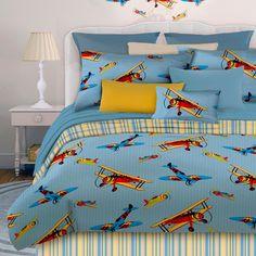 bedding, twin, comfort set, airplan, blue, fli high, comforter sets, kid, comforters
