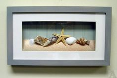 **BLK AND WHT PIC OF KIDS PLAYING AT THE BEACH....SAND, STONES, SHELLS THEY FOUND. WHITE FRAME  **OR B AND W PICS OF WASHING HANDS. BRUSHING TEETH. ELLA...  Shell Seashell Starfish Shadow Box