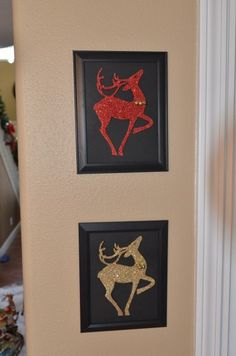 super easy glitter reindeer wall art - dollar store craft.  I have some of these...now I know what to do with them!