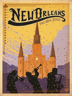 New Orleans :: The Big Easy  #vintage #travel #poster #USA