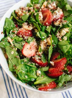 Now for sale on Plated! Summer salad with strawberries, spinach, quinoa, almonds and goat cheese - cookieandkate.com