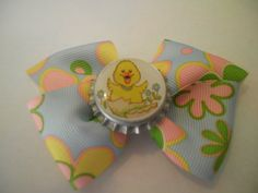Bottle Cap Ducky Hair Bow by ang744 on Etsy, $3.00