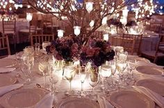 wedding tables, wedding parties, wedding decorations, tree branches, candle centerpieces, winter weddings, wedding centerpieces, party centerpieces, tea lights