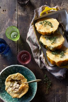 Acorn Squash Pot Pie with Wild Rice and Almond-Thyme Cream Sauce