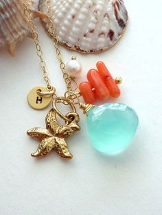 Starfish + coral + ocean blue + gold = summer jewelry