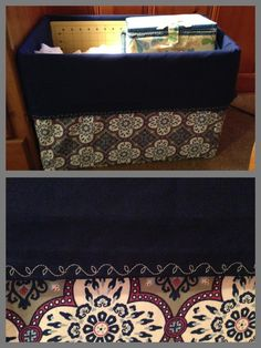 Completed box project. Sew fabric covers for a box for cute storage. Super quick and easy.