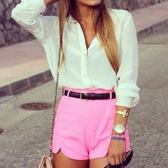 neon pink shorts for spring