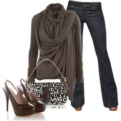 jean, brown drape, sweater, polyvore outfits, fall outfits