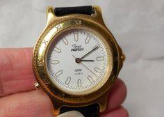NOS TIMEX Indigo Watch Gold Black Leather Band by JewlsinBloom, $24.95