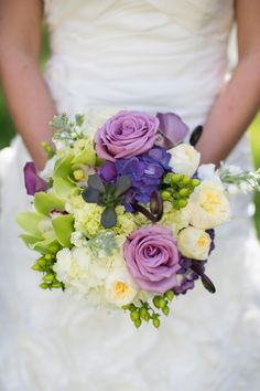 Purple and green bouquet // photo by Elizabeth Scott Photography