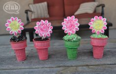 spring flowers, cupcak cone, cone flower, mothers day, cupcake cones, paper flowers, flower cupcakes, treat