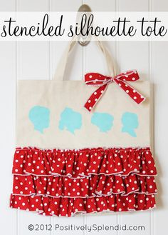 Custom Stenciled Silhouette Tote created with Martha Stewart crafts. A very cute project for Mother's Day. #crafts #tote #mother's day #martha stewart