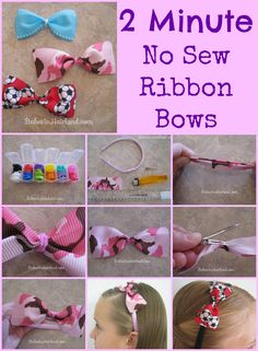 2 Minute No Sew Ribbon Bows from BabesInHairland.com #bows #accessories #hair