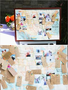 pin your well wishes to the map - such a great idea for a destination wedding guestbook #guestbook #destinationwedding #diy http://www.weddingchicks.com/2013/11/07/beverly-hills-backyard-wedding/ travel theme, map guestbook, diy travel map, wedding book theme, guestbook wedding ideas, guestbook map, themed weddings, map guest book, travel weddings