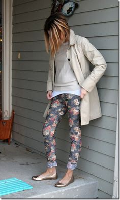 neutrals, trench coat, floral jeans - cute style, maternity outfits, too!