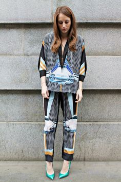 Rosie Fortescue Saturday streetstyle look with our Metal to Petal suit by @Clover Canyon and Turquoise Pointed Heel Pumps by @Giuseppe Zanotti Design!