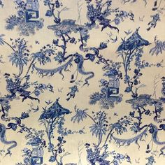 Canton Delft Linen Toile Curtain Fabric #fabric #linen #curtains #toile #blue #nofilter