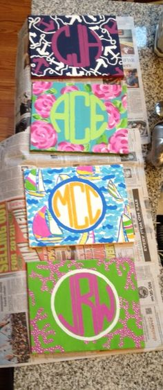 crafts for little sorority, canvas ideas for college, crafts canvas, college canvas diy, lilly pulitzer monogram