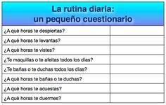 La rutina diaria cuestionario : corregir : a qué hora ( y no horaS)