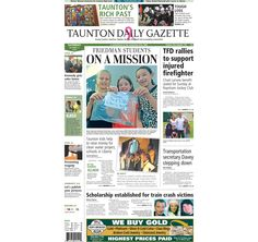 The front page of the Taunton Daily Gazette for Saturday, Oct. 11, 2014.