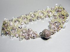 READY TO SHIP Fairy Princess Lavender Silver Czech Fire Polish Bracelet by WhimsyBeading, $40.00